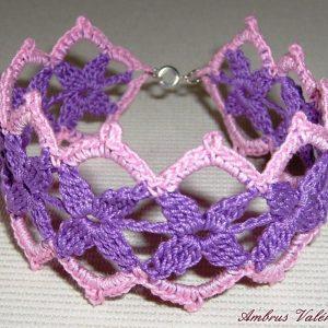 Lila - Rózsaszín csipke karkötő