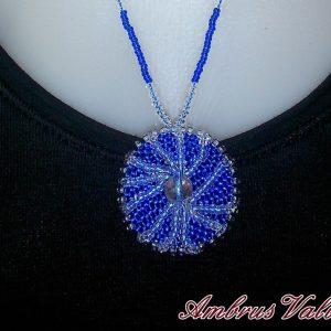 Sötétkék - Üveg medálos nyaklánc