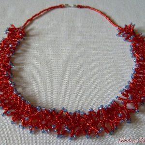 Piros – Világoskék korallos nyaklánc