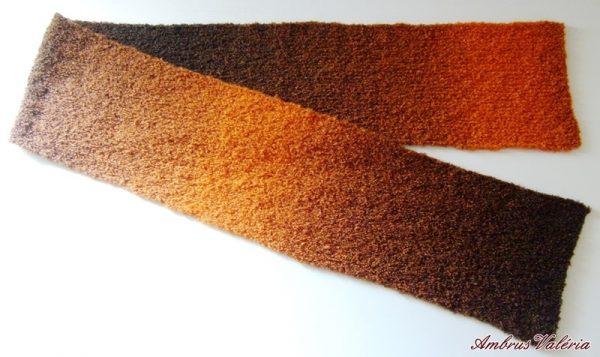 Barna – Narancs kötött sál