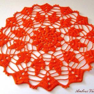 Narancssárga horgolt terítő