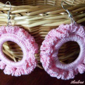 Rózsaszín horgolt fülbevaló