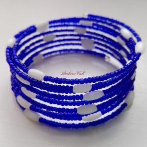 Kék - Fehér rizs memória karkötő