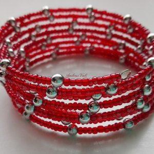 Piros – Ezüst memória karkötő