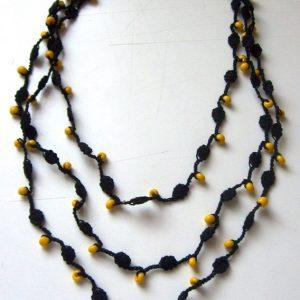 Citromsárga gyöngyös horgolt nyaklánc