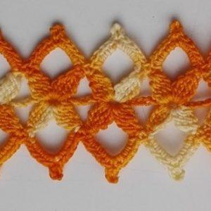 Sárga horgolt csipke karkötő