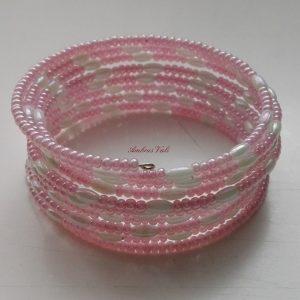 Rózsaszín – Fehér rizses memória karkötő