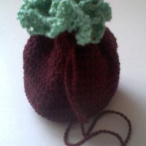 Bordó - Zöld horgolt szütyő