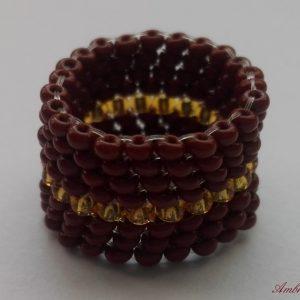 Barna - Arany peyote gyűrű