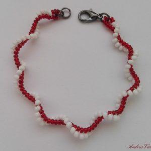 Piros - Fehér kis spirál karkötő