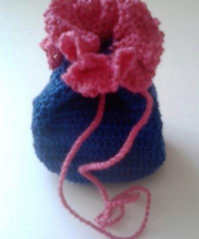 Kék – Rózsaszín horgolt szütyő