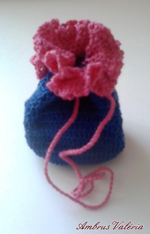 Kék - Rózsaszín horgolt szütyő