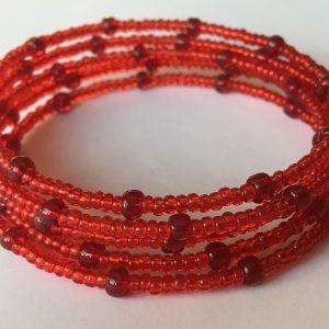 Piros – Bordó nagy gyöngyös memória karkötő