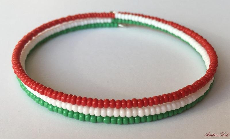 Piros - Fehér - Zöld memória karkötő